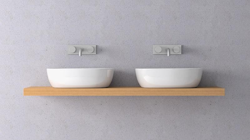 Doppelwaschtisch doppelwaschbecken - Mitigeur mural salle de bain ...